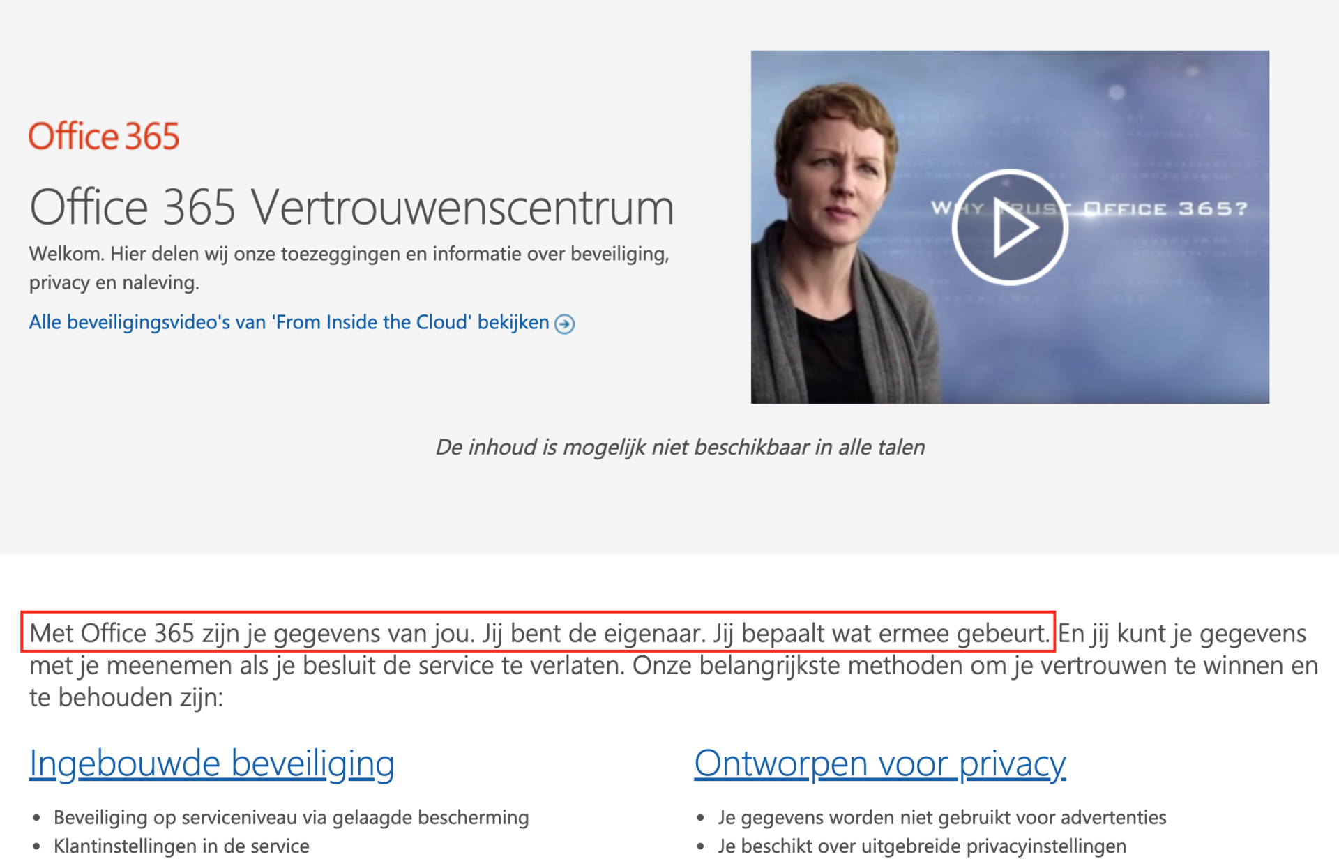 Microsoft jij beheert de data